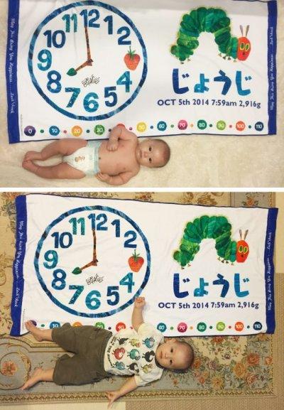 画像1: はらぺこあおむし【EC-CLOCK】ブルー:バスタオル単品